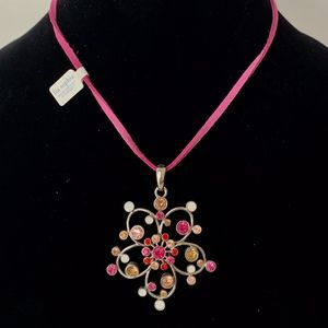 NWT Lia Sophia Pink Flower Stone Cord Necklace